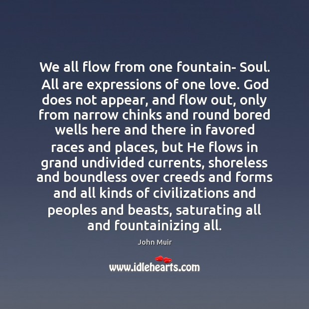 We all flow from one fountain- Soul. All are expressions of one John Muir Picture Quote