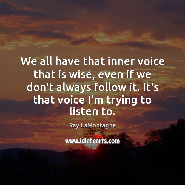 We all have that inner voice that is wise, even if we Ray LaMontagne Picture Quote