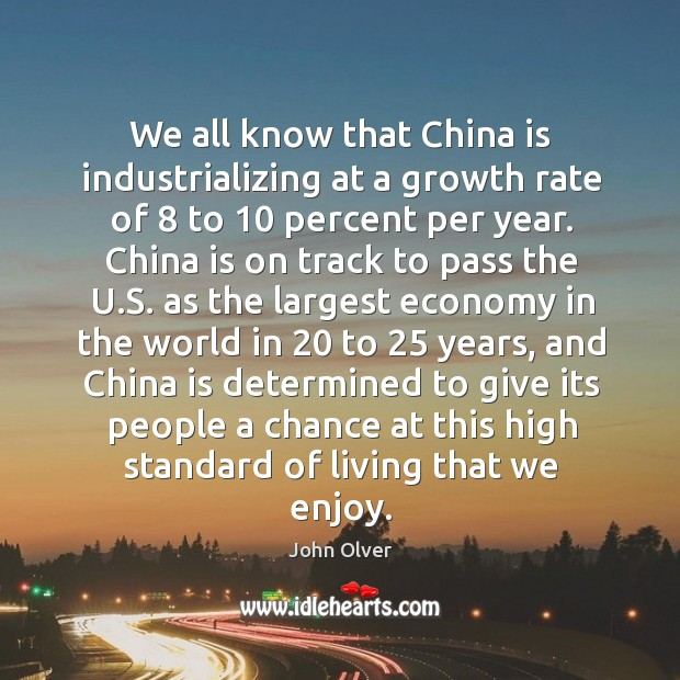 We all know that china is industrializing at a growth rate of 8 to 10 percent per year. Image