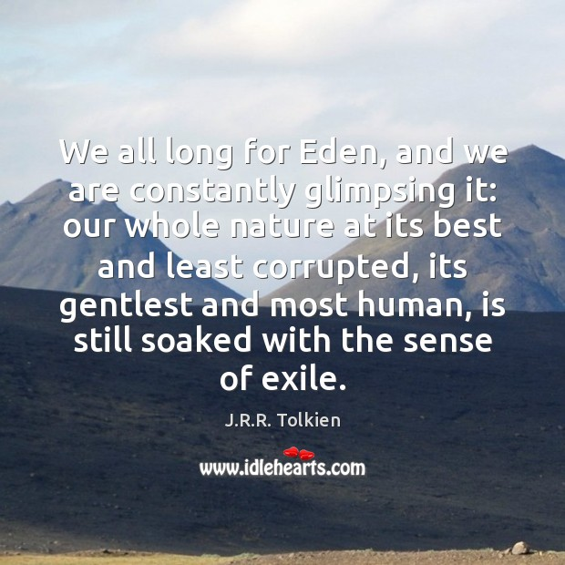 We all long for Eden, and we are constantly glimpsing it: our Image