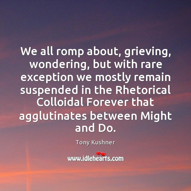 We all romp about, grieving, wondering, but with rare exception we mostly Image