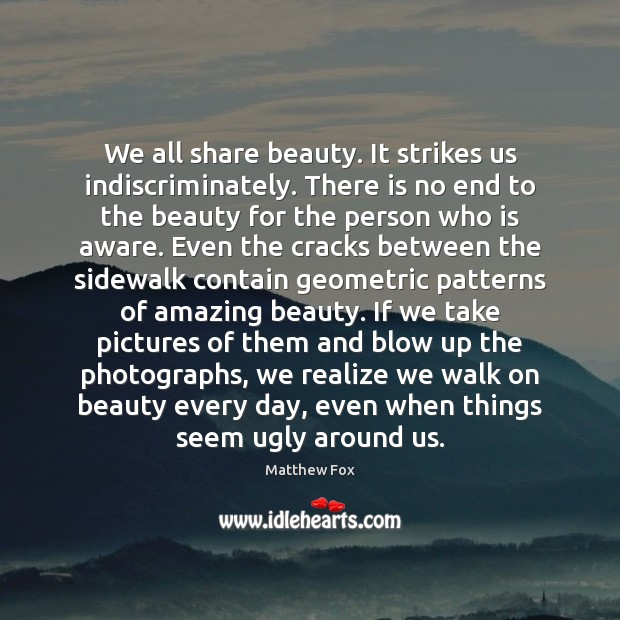 We all share beauty. It strikes us indiscriminately. There is no end Matthew Fox Picture Quote
