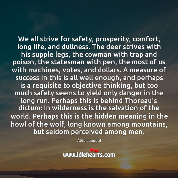 We all strive for safety, prosperity, comfort, long life, and dullness. The Image