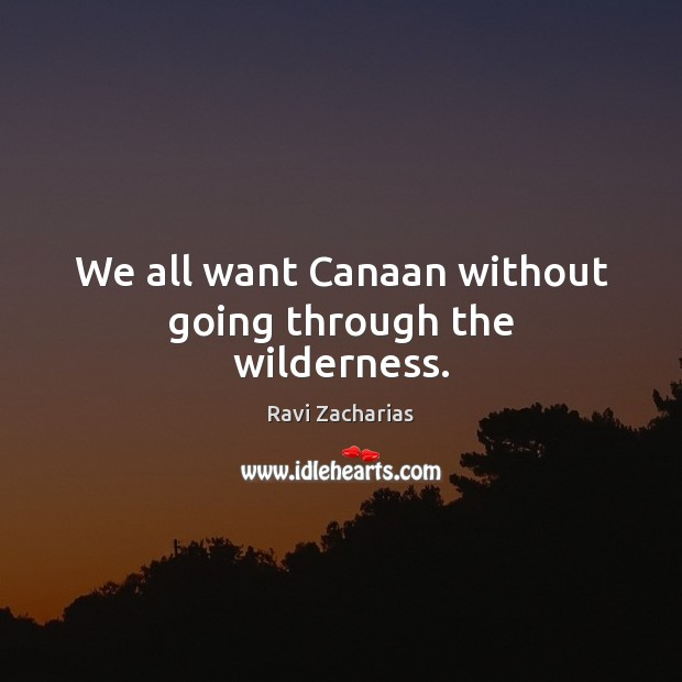 Image, We all want Canaan without going through the wilderness.