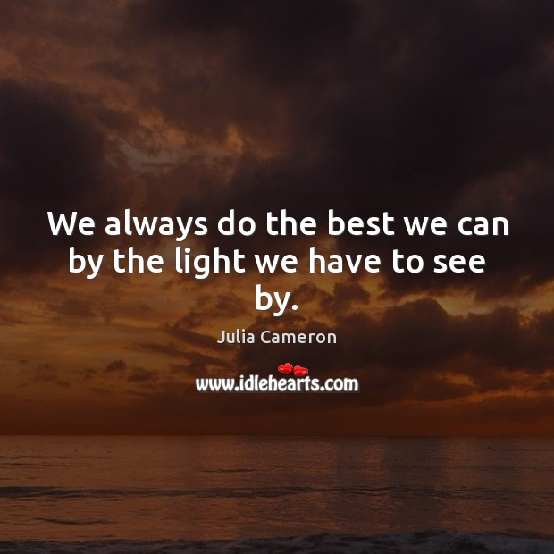 We always do the best we can by the light we have to see by. Julia Cameron Picture Quote