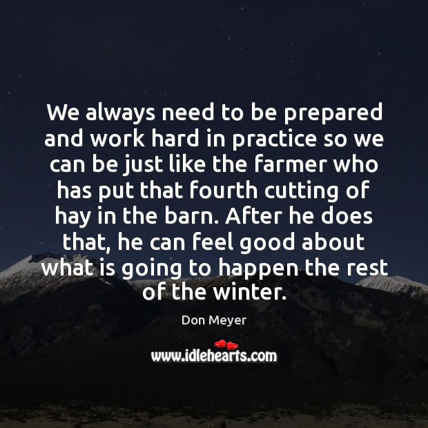 Image, We always need to be prepared and work hard in practice so