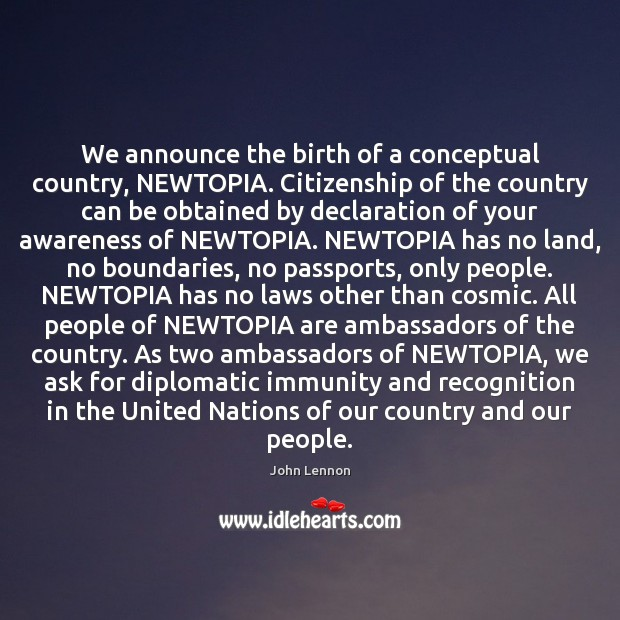 Image, We announce the birth of a conceptual country, NEWTOPIA. Citizenship of the