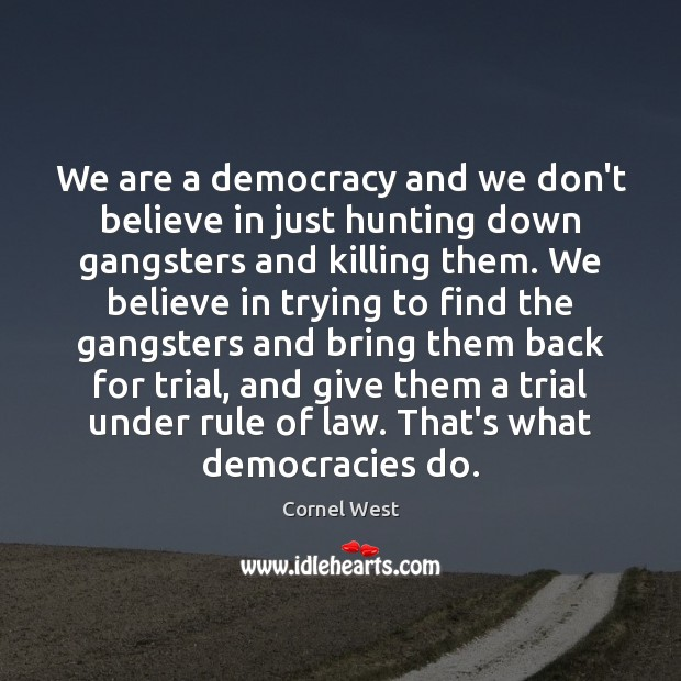 Image, We are a democracy and we don't believe in just hunting down