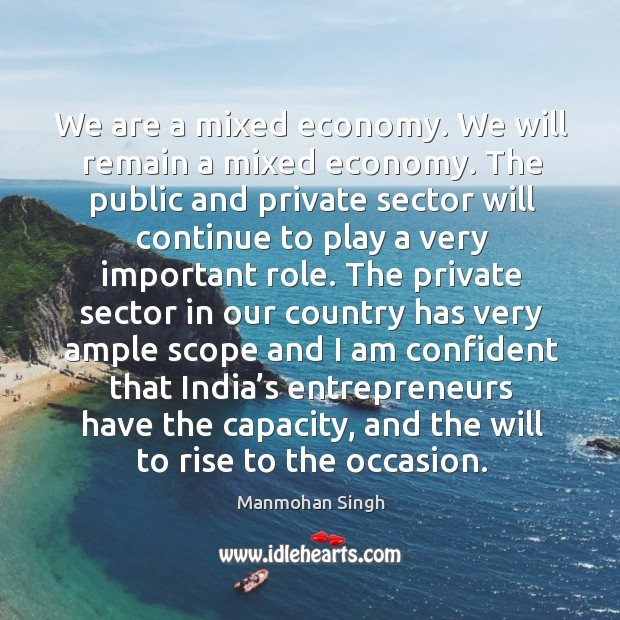 We are a mixed economy. We will remain a mixed economy. Image