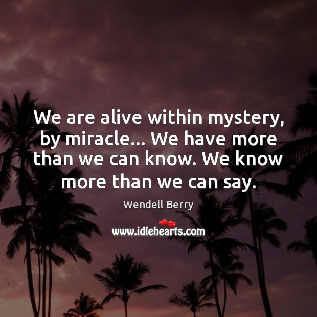 We are alive within mystery, by miracle… We have more than we Image