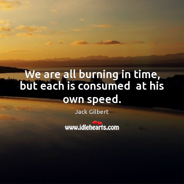We are all burning in time, but each is consumed  at his own speed. Image