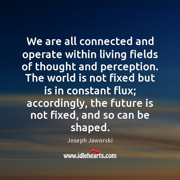 We are all connected and operate within living fields of thought and Image