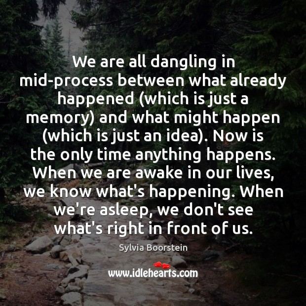 Image, We are all dangling in mid-process between what already happened (which is