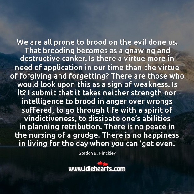 We are all prone to brood on the evil done us. That Grudge Quotes Image