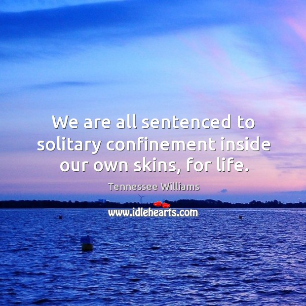 Image, We are all sentenced to solitary confinement inside our own skins, for life.