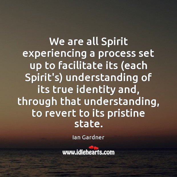 Ian Gardner Picture Quote image saying: We are all Spirit experiencing a process set up to facilitate its (