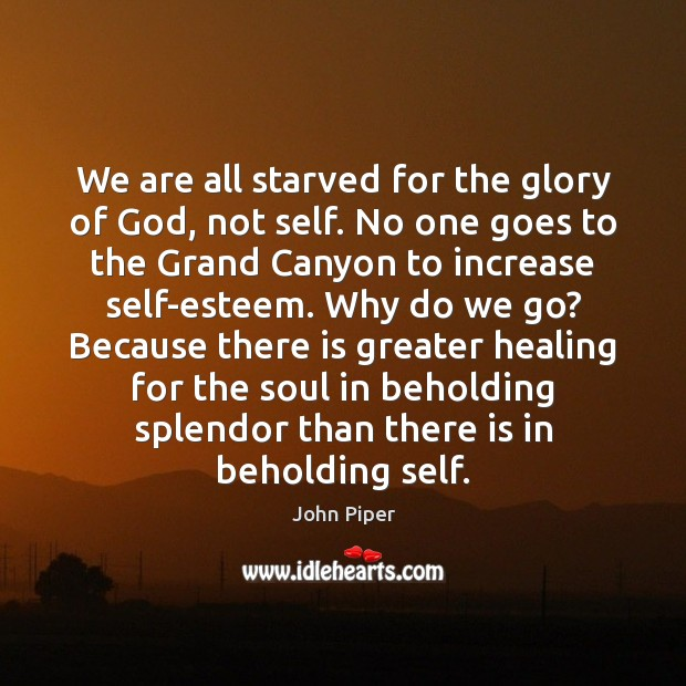 We are all starved for the glory of God, not self. No Image