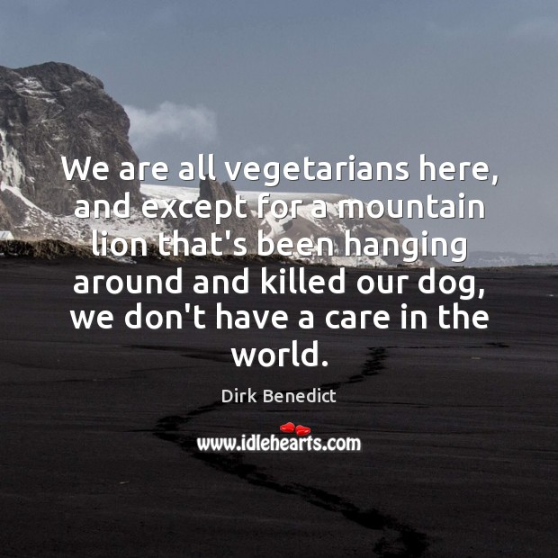 We are all vegetarians here, and except for a mountain lion that's Image
