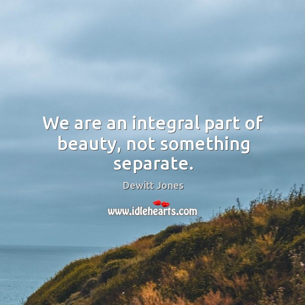 We are an integral part of beauty, not something separate. Dewitt Jones Picture Quote