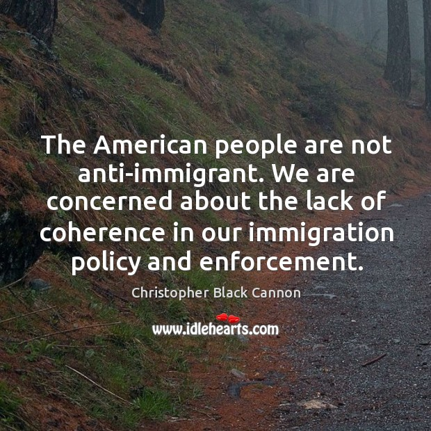 We are concerned about the lack of coherence in our immigration policy and enforcement. Image