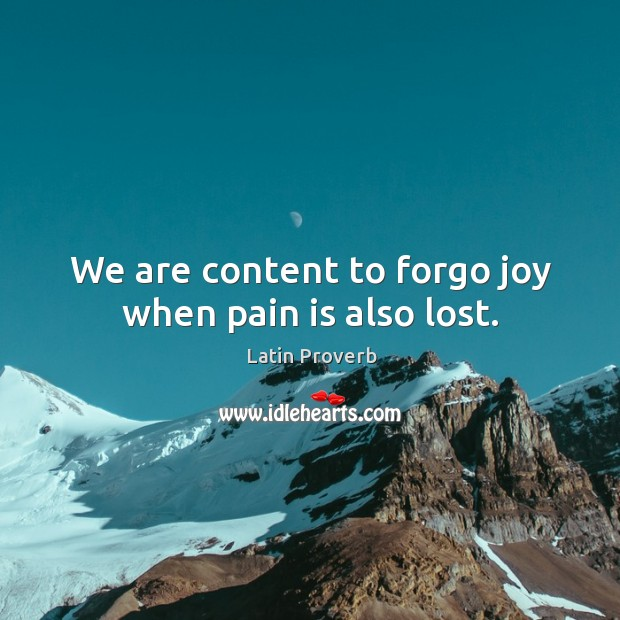 Image, We are content to forgo joy when pain is also lost.