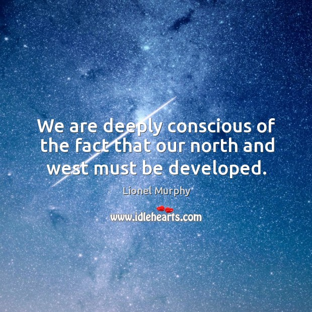 We are deeply conscious of the fact that our north and west must be developed. Lionel Murphy Picture Quote
