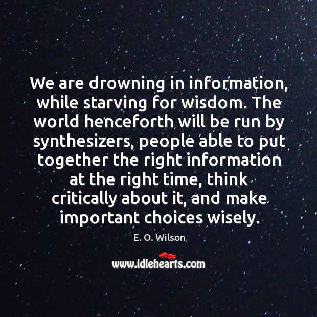Image, We are drowning in information, while starving for wisdom.