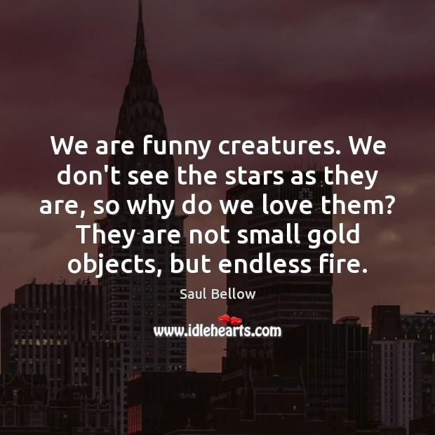 We are funny creatures. We don't see the stars as they are, Saul Bellow Picture Quote