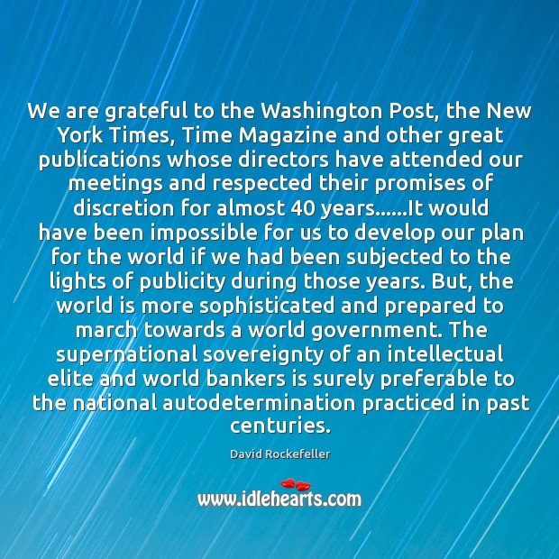 We are grateful to the Washington Post, the New York Times, Time Image