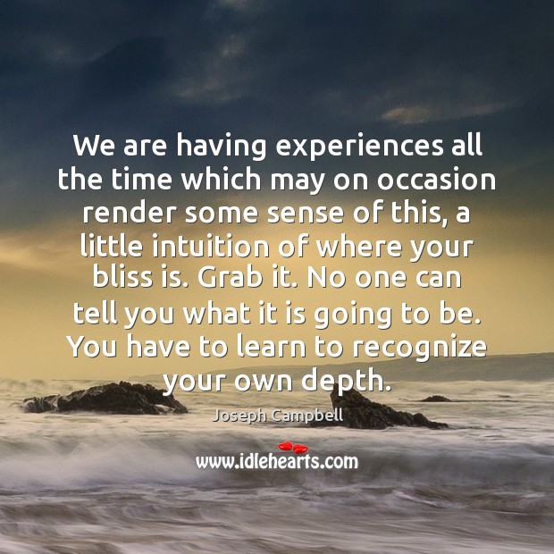 We are having experiences all the time which may on occasion render Joseph Campbell Picture Quote