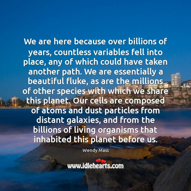 We are here because over billions of years, countless variables fell into Image