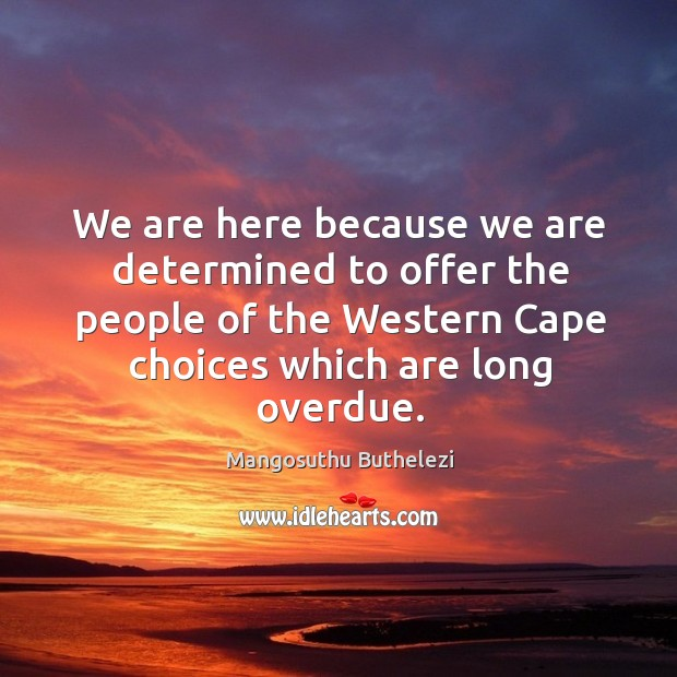 We are here because we are determined to offer the people of the western cape choices which are long overdue. Image
