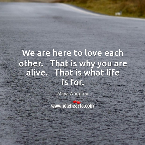 Image, We are here to love each other.   That is why you are alive.   That is what life is for.