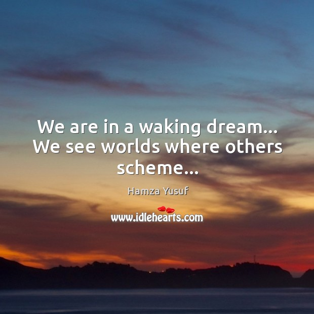 We are in a waking dream… We see worlds where others scheme… Hamza Yusuf Picture Quote