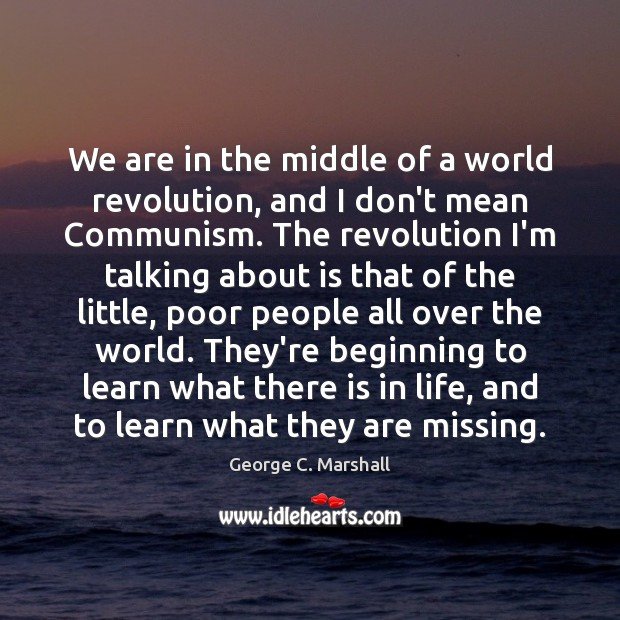 We are in the middle of a world revolution, and I don't Image