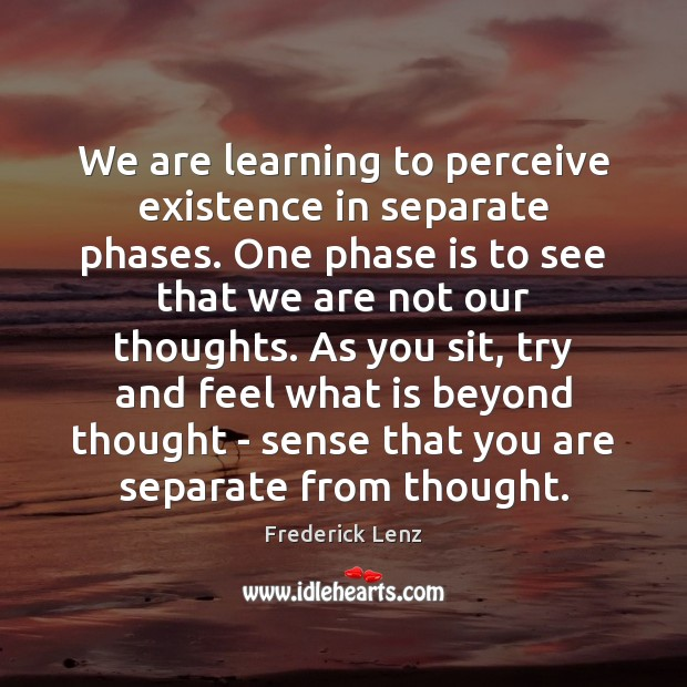 Image, We are learning to perceive existence in separate phases. One phase is