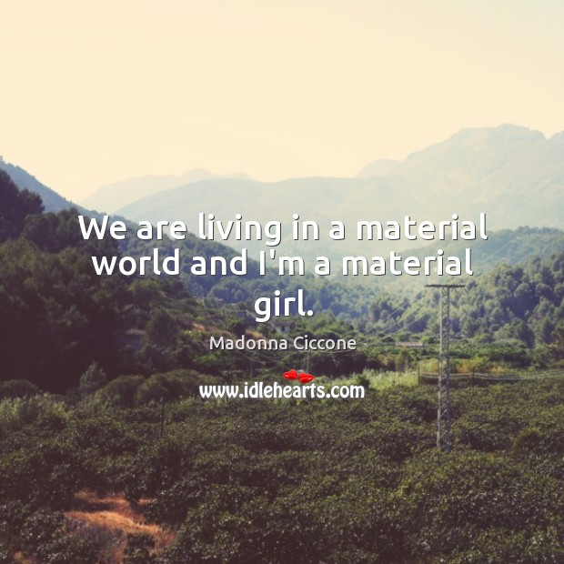Image, We are living in a material world and I'm a material girl.