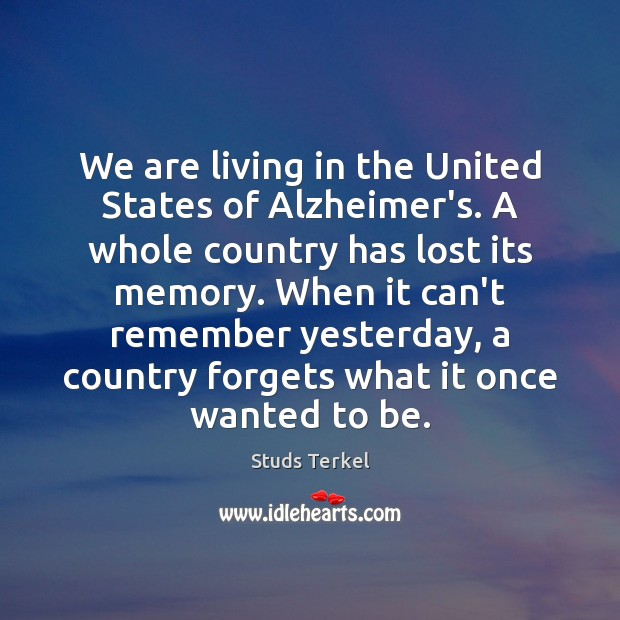 We are living in the United States of Alzheimer's. A whole country Image