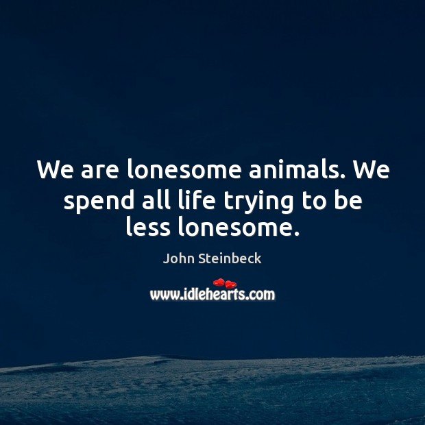 We are lonesome animals. We spend all life trying to be less lonesome. Image