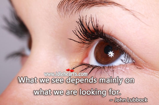 What We See Depends Mainly On What We Are Looking For.