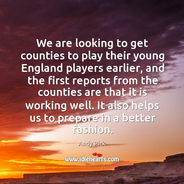 Image, We are looking to get counties to play their young england players earlier, and the first reports
