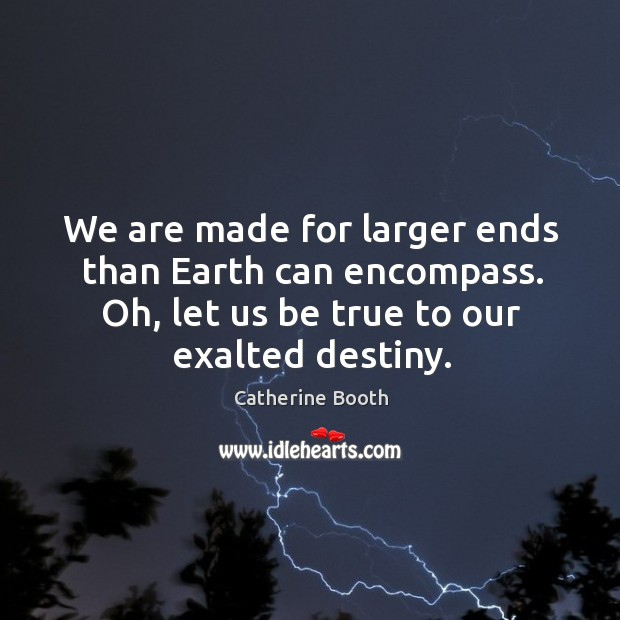We are made for larger ends than earth can encompass. Oh, let us be true to our exalted destiny. Image