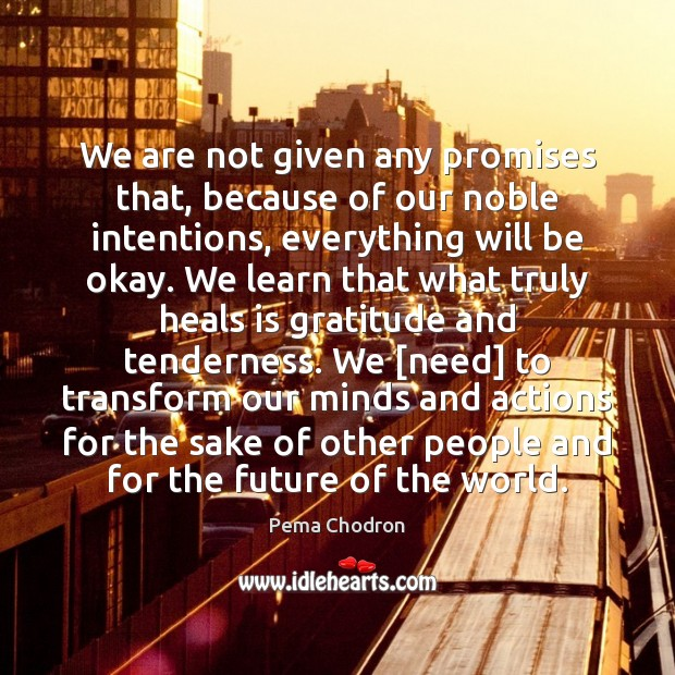 We are not given any promises that, because of our noble intentions, Image