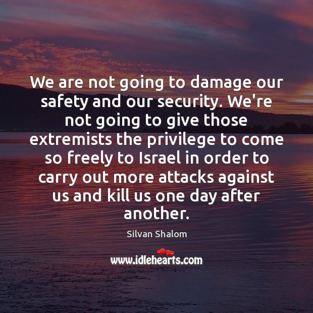 We are not going to damage our safety and our security. We're Image