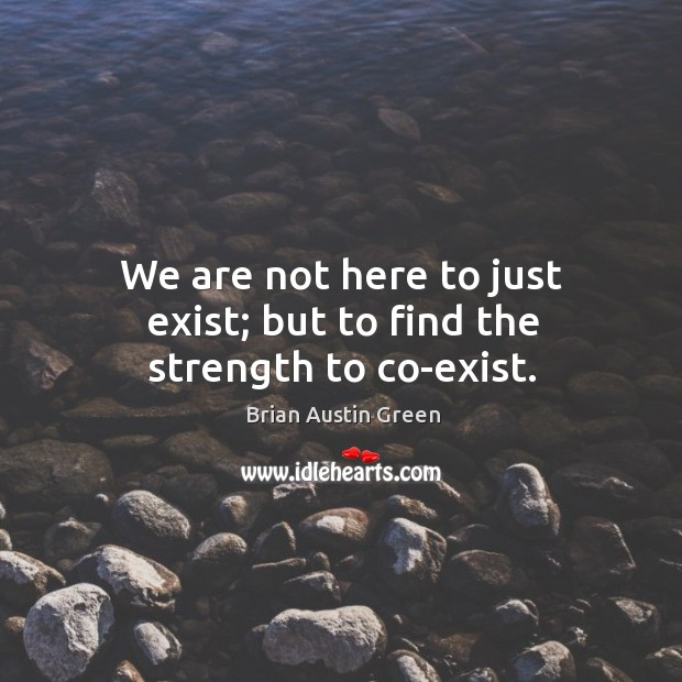 We are not here to just exist; but to find the strength to co-exist. Brian Austin Green Picture Quote