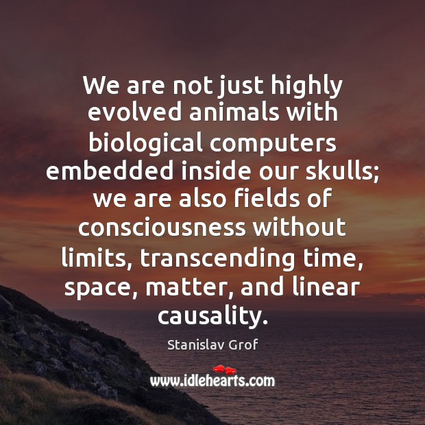 We are not just highly evolved animals with biological computers embedded inside Stanislav Grof Picture Quote