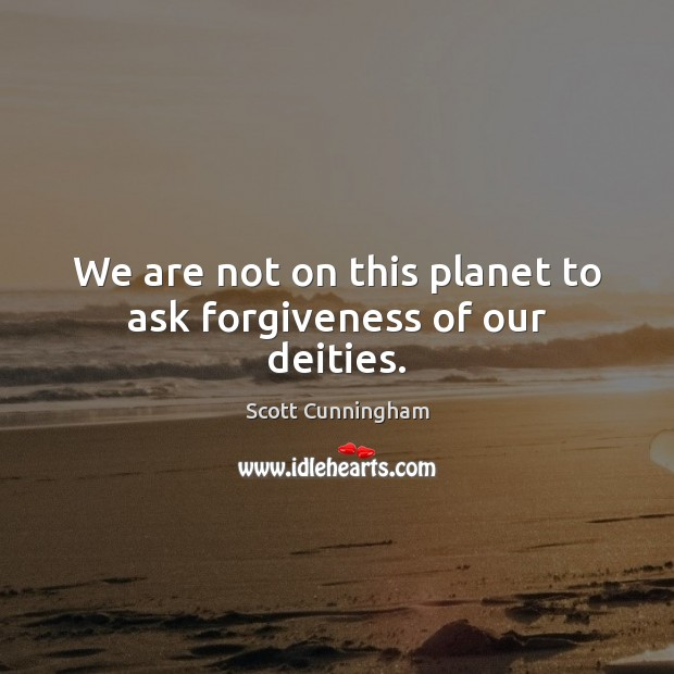 We are not on this planet to ask forgiveness of our deities. Forgive Quotes Image