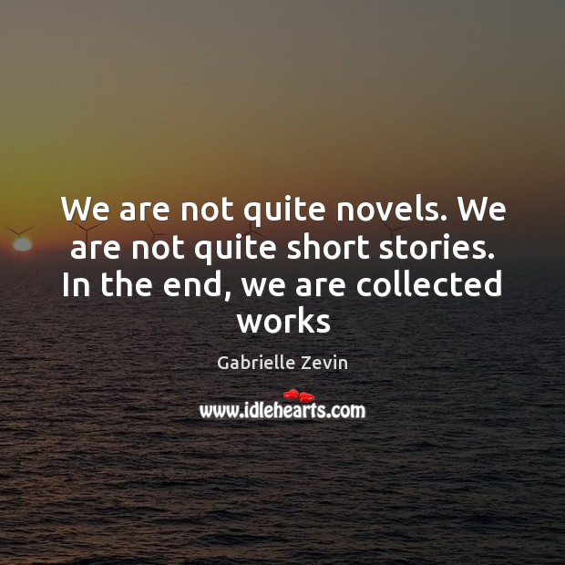 We are not quite novels. We are not quite short stories. In Gabrielle Zevin Picture Quote