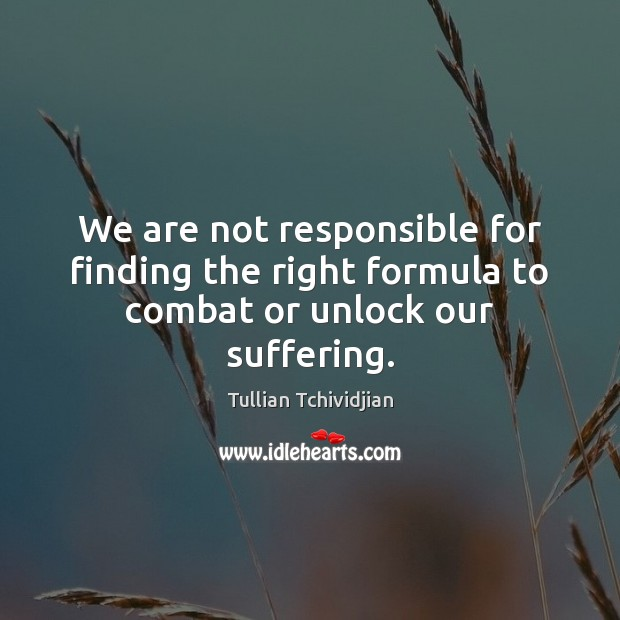 We are not responsible for finding the right formula to combat or unlock our suffering. Tullian Tchividjian Picture Quote