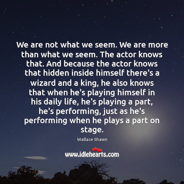 We are not what we seem. We are more than what we Wallace Shawn Picture Quote